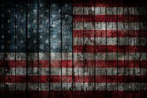 American Flag Painted On Fence Background by alexfiodorov