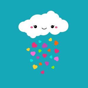 Abstract Cute Cartoon Vector Rainy Cloud. Raindrops of Colorful Hearts. Funny Illustration. Kids De by Alextanya