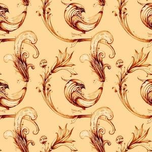 Birds and Flower Seamless Watercolour Pattern. Vector Vintage Ba by Alextanya