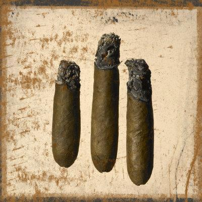 Three Cigars Lit with Ashes
