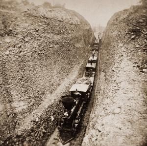 Bloomer Cut near Auburn, California, 800 feet long and 63 feet high, 1866-1869 by Alfred A. Hart