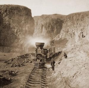 First Construction Train passing the Palisades, Ten Mile Cañon, Nevada, 1866-1869 by Alfred A. Hart
