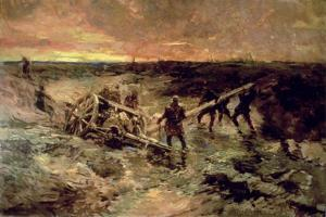 Canadian Gunners in the Mud, Passchendaele, 1917 by Alfred Bastien