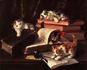 Playful Kittens by Alfred Brunel De Neuville