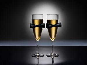 Champagne Glasses with Conceptual Same Sex Decoration by Alfred Cats