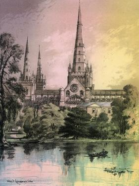 Lichfield Cathedral, Staffordshire, C1870 by Alfred Concanen