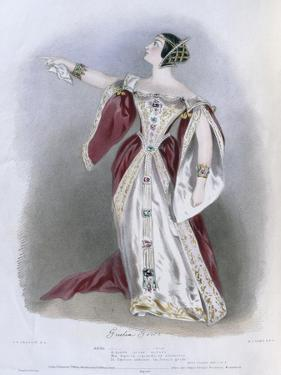 Giulia Grisi (1811-69) as Anna in 'Anna Bolena', from 'Recollections of the Italian Opera',… by Alfred-edward Chalon