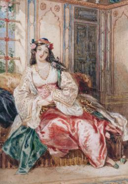 Lady Seated in an Ottoman Interior Wearing Turkish Dress, 1832 by Alfred-edward Chalon