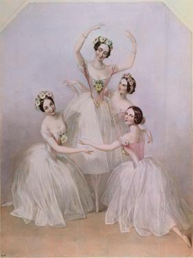 The 'Pas De Quatre': Carlotta Grisi (1819-99) Marie Taglioni (1804-84) Lucile Grahn (1819-1907)… by Alfred-edward Chalon