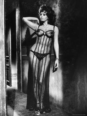 """Actress Sophia Loren Costumed in Brothel Scene From the Movie """"Marriage Italian Style"""" by Alfred Eisenstaedt"""