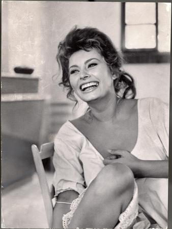 Actress Sophia Loren Laughing While Exchanging Jokes During Lunch Break on Madame Movie Set