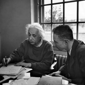 Albert Einstein, in Discussion with Robert Oppenheimer in Office Institute for Advanced Study by Alfred Eisenstaedt