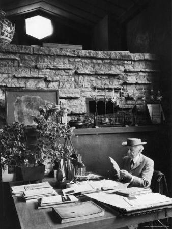 Architect Frank Lloyd Wright Working at Desk in His Home Taliesin by Alfred Eisenstaedt