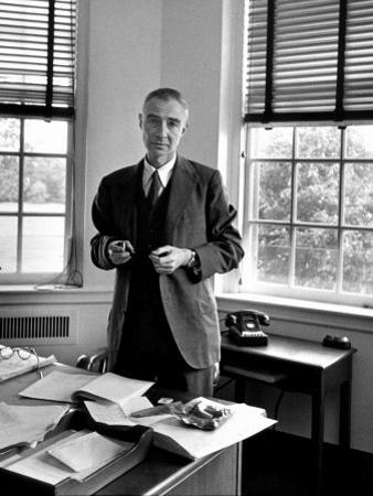 Atomic Scientist J. Robert Oppenheimer Standing in His Office after the Gray Report Was Published