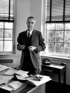 Atomic Scientist J. Robert Oppenheimer Standing in His Office after the Gray Report Was Published by Alfred Eisenstaedt