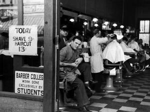 Barbershop at Down Town Hair School by Alfred Eisenstaedt