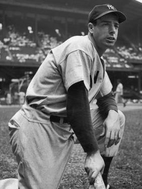 Baseball Player Joe Di Maggio Kneeling in His New York Yankee Uniform by Alfred Eisenstaedt