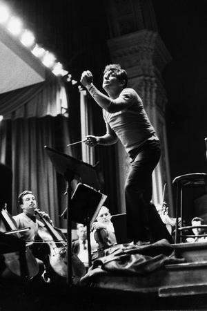 Conductor Leonard Bernstein Rehearsing Mahler's Resurrection Symphony at Carnegie Hall