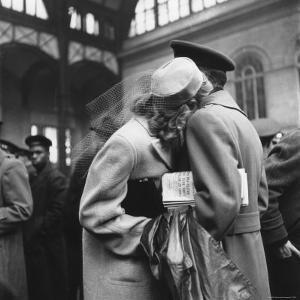 Couple in Penn Station Sharing Farewell Embrace Before He Ships Off to War During WWII by Alfred Eisenstaedt