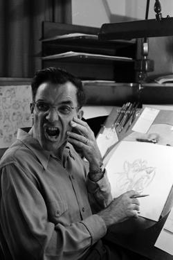 "Disney Artist Frank Johnson Works on a Drawing from ""Lady and the Tramp,"" Burbank, CA, 1953 by Alfred Eisenstaedt"