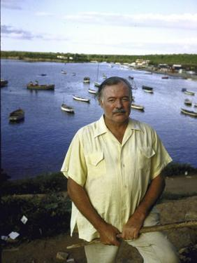 """Ernest Hemingway at a Cuban Fishing Village Like the One in His Book """"The Old Man and the Sea"""" by Alfred Eisenstaedt"""
