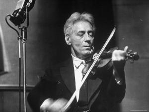 Fritz Kreisler, Austrian Born Violinist and Composer, Playing the Violin in an NBC Studio by Alfred Eisenstaedt