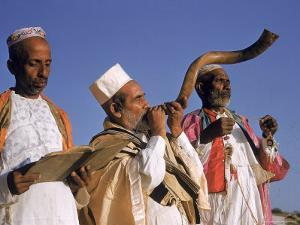 Indian Rabbi Blowing the Shofar Horn on the Jewish Sabbath by Alfred Eisenstaedt