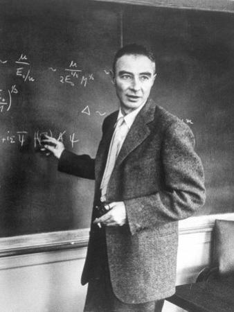 J. Robert Oppenheimer Working Out Physics Equations on the Blackboard in His Office