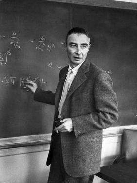 J. Robert Oppenheimer Working Out Physics Equations on the Blackboard in His Office by Alfred Eisenstaedt