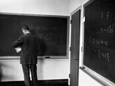 J. Robert Oppenheimer, Working Out Physics Formulas on Blackboards