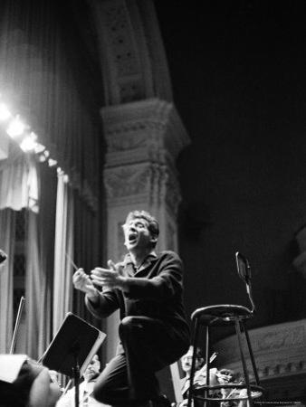 Leonard Bernstein Conducting Mahler's Symphony During NY Philharmonic Rehearsal at Carnegie Hall