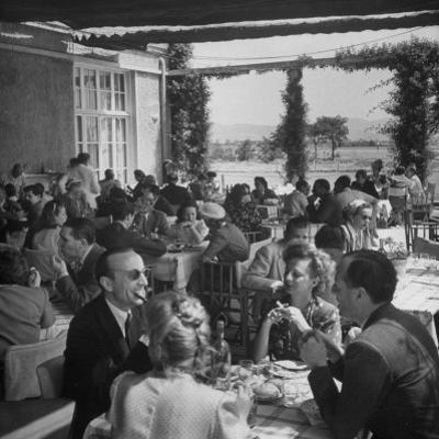 Luncheon on the Terrace at the Exclusive Golf Club Outside Rome by Alfred Eisenstaedt