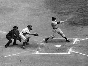 New York Yankee Joe Di Maggio Swinging Bat in Game Against the Philadelphia Athletics by Alfred Eisenstaedt