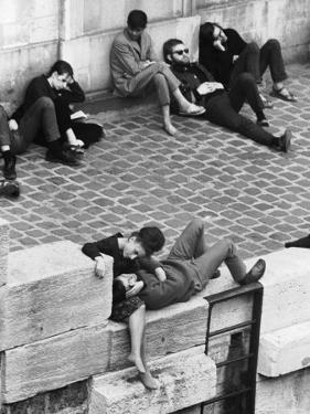 Parisian Beatniks Hanging Out on Bank of the Seine by Alfred Eisenstaedt