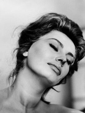 Portrait of Actress Sophia Loren with Eyes Closed by Alfred Eisenstaedt