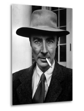 Portrait of American Physicist J. Robert Oppenheimer Wearing a Porkpie Hat and Smoking a Cigarette by Alfred Eisenstaedt