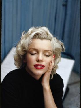 Portrait of Marilyn Monroe on Patio Outside of Her Home by Alfred Eisenstaedt