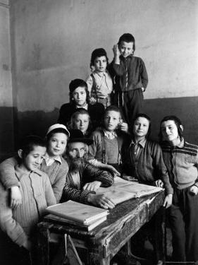 Portrait of Rabbi Eleazar Brizel and Students by Alfred Eisenstaedt