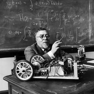 Professor Norbert Wiener, American Mathematician Who Founded Cybernetics, in Classroom at MIT by Alfred Eisenstaedt