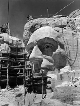 Scaffolding around Head of Abraham Lincoln, Partially Sculptured During Mt. Rushmore Construction by Alfred Eisenstaedt