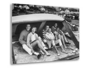 Singing Group the Kingston Trio: Dave Guard, Nick Reynolds, Bob Shane and Wives by Alfred Eisenstaedt