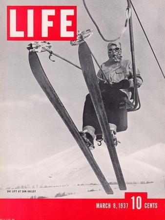 Skier Riding the Chair Lift at Sun Valley Ski Resort, March 8, 1937