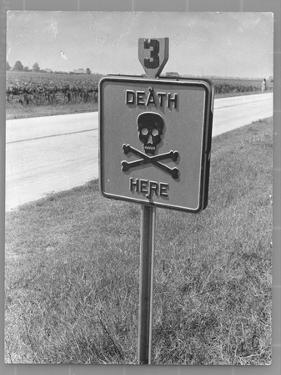 """Skull and Crossbones Surrounded by the Words """"Death Here"""" marking fatal car accident by Alfred Eisenstaedt"""
