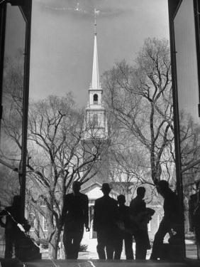 Students on Steps of Widener Library at Harvard University by Alfred Eisenstaedt