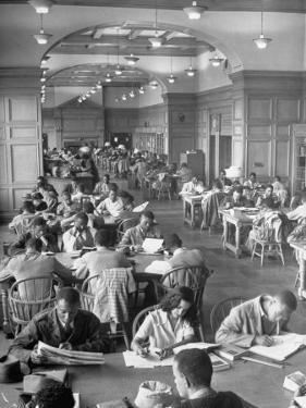 Students Studying in Reading Room of Howard University Library by Alfred Eisenstaedt