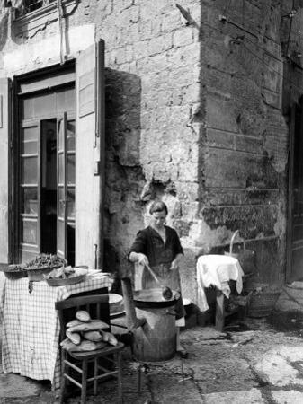 Vendor Selling Mussels and Bread in the Street by Alfred Eisenstaedt