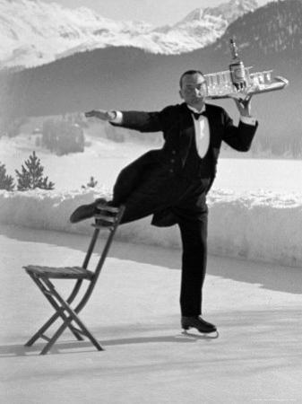 Waiter Rene Brequet with Tray of Cocktails as He Skates Around Serving Patrons at the Grand Hotel