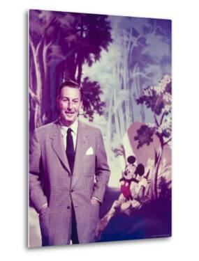 Walt Disney Posing Against Landscape Backdrop Containing Mickey Mouse by Alfred Eisenstaedt