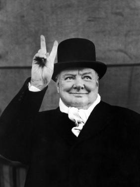 """Winston Churchill Making """"V"""" for Victory Sign by Alfred Eisenstaedt"""