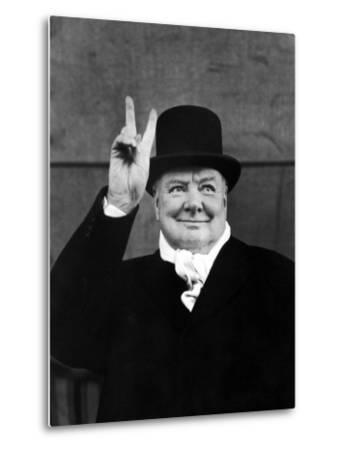 "Winston Churchill Making ""V"" for Victory Sign by Alfred Eisenstaedt"